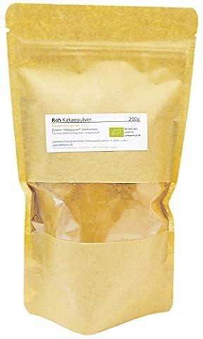 Edelmond® Bio Roh-Kakaopulver aus nicht gerösteten Kakaobohnen ✓ Organisch angebauter Kakao ✓ Ohne Zusätze ✓ Ohne Zucker ✓ Fettgehalt um 12% (200 g)