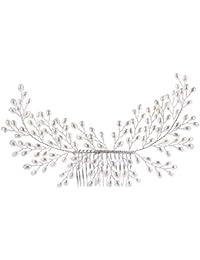 Lurrose Novia Peinados Hechos a Mano Perla Boda Sombreros para Las Mujeres (Blanco)