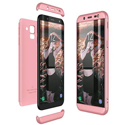 CE-Link Kompatibel mit Samsung Galaxy J6 2018 Hülle Hardcase 3 in 1 Handyhülle 360 Grad Schutz Ultra Dünn Slim Hard Hartschale Grad Full Body Case Cover Hart PC Bumper - Rose Gold