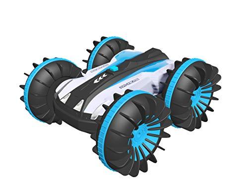FREE TO FLY RC Auto,Offroad ferngesteuertes Auto 4WD,6CH 2,4 GHz Land Wasser 2 in 1 RC Spielzeugauto Multifunktions wasserdichte Stunt 1:16 Remote-Fahrzeug mit drehen 360 Elektroauto Spielzeug (Blau)