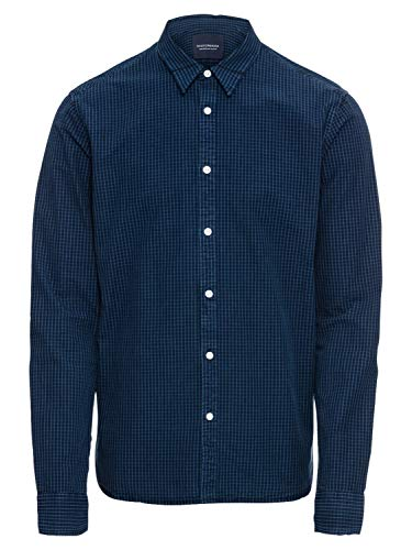 Scotch & Soda Herren Hemd Slim FIT AMS Blauw Shirt with Mini Checks Blue Denim M -
