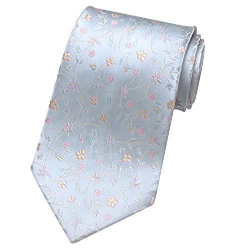 Yetta Home 9cm Silber Blume Blumen Krawatte im chinesischen Stil 100% Seide handgemachte Stickerei Krawatte in Geschenkbox