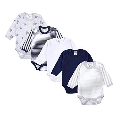 TupTam Baby Unisex Langarm Body Sterne Streifen Uni 5er Pack, Farbe: Farbenmix 1, Größe: 62