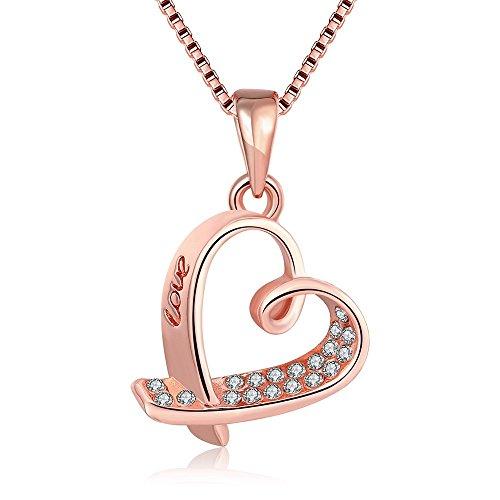 Kingwin, Collana con ciondolo, placcato in oro rosa, a forma di cuore, con pavé, collana da donna, catena di 45cm
