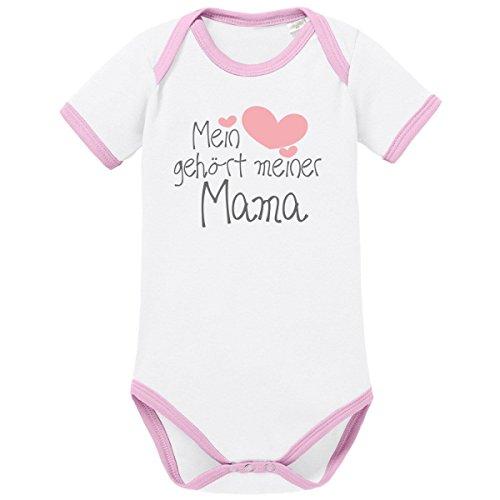 Mikalino Babybody Mein Herz gehört meiner Mama kurzarm ringer, Farbe:weiss-rosa;Grösse:56 (Mama Ringer)