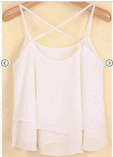 Smile YKK Top Crop Femme Mousseline de Soie T-shirt Sans Manche Chemise Courte Blouse Plage Casual Eté Blanc