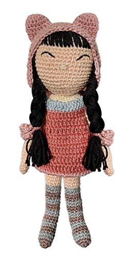 LOOP BABY - gehäkelte Puppe aus Bio-Baumwolle - mit rosa Mütze, gestreiften Socken & süßem Kleid - Baby-Geschenk für Ostern, Taufe oder Geburtstag -