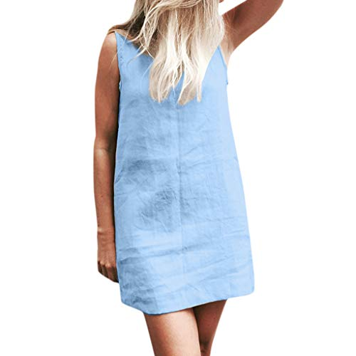 Damen kleid sommer sexy dress ärmelloses rundhals lose dress baumwolle einfarbig tasche mini dress (M, Blau)