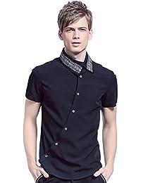 3c93ebb57d1b9 FANZHUAN Camisa Manga Corta Hombre Cuadros Negra Camisa De Vestir Hombre  Slim Fit