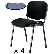 4x - Silla confidente para oficina con brazo pala apilable para escritura - Silla tapizada color NEGRO, ideal para oficinas, academias, autoescuelas.