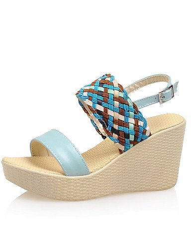 UWSZZ IL Sandali eleganti comfort Scarpe Donna-Sandali-Casual-Zeppe / Aperta-Zeppa-Finta pelle-Blu / Rosa / Bianco White