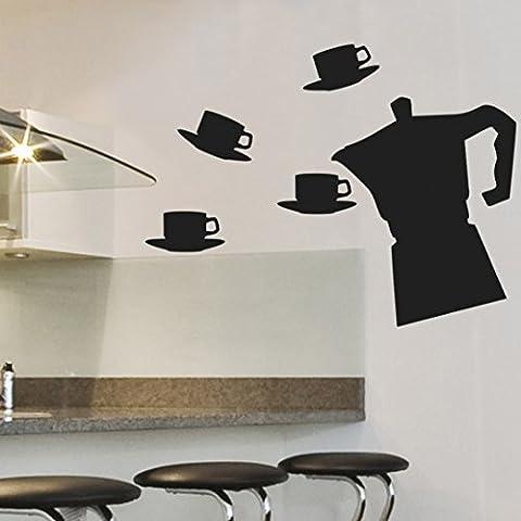 IDEAVINILO- Vinilo Pizarra con forma de cafetera y cuatro pocillos con platos . Color negro. Medidas: 68x56cm