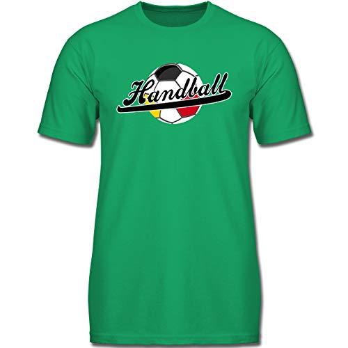 Handball WM 2019 Kinder - Handball Deutschland - 140 (9-11 Jahre) - Grün - F130K - Jungen Kinder T-Shirt