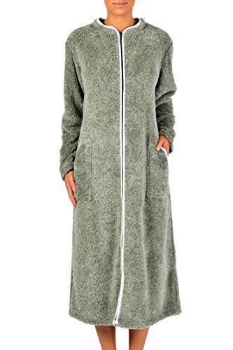 ction Damen Bademantel aus Plüsch, lang, weich, mit Reißverschluss - Grau - Medium ()
