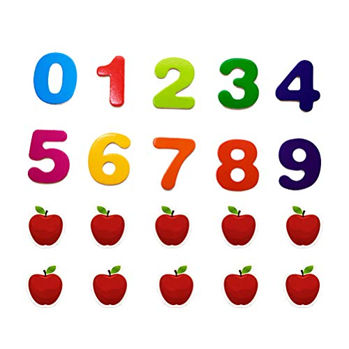 Stobok numeri magnetici in legno calamite frigo magneti da frigo mela giochi di matematica giocattoli magnetici giocattoli educativi per bambini 20 pezzi (stampa colorata)