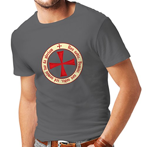 Männer T-Shirt Tempelritter Templer Orden T-Shirt (Knights Templar) für Herren mit Tatzenkreuz Ordo Red (X-Large Graphit (Kostüme Amazon Creed Assassins)