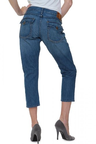 True Religion Damen Jeans Boyfriend Lisa Snake Eyes Crop Wash PAL Austin, Farbe: Blau, Größe: 24 -