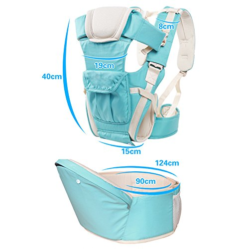 IRISH Baby Strap Hocker Breathable Mesh Kann als Back-Style Kangaroo-Style Baby Tragen Baby Multi-Bag Drei-in-One-Multi-Funktions-Kinderband verwendet werden (grau) blau
