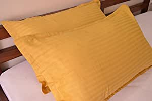 "Trance Home Linen Cotton Pillow Covers (Golden Yellow_18"" x 28"")"