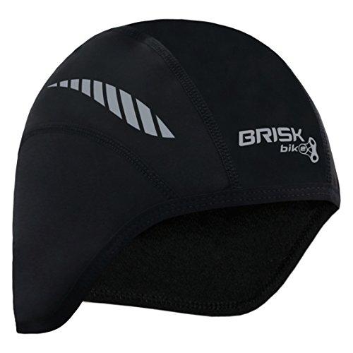 Brisk cycling skull cap under helmet thermal tight fit warm regular size (Black/Grey)