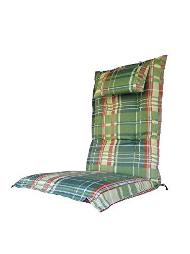 8-cm-luxus-hochlehner-auflage-mit-kopfkissen-spring-grun-kariert-pure-home-garden-120-x-46-cm