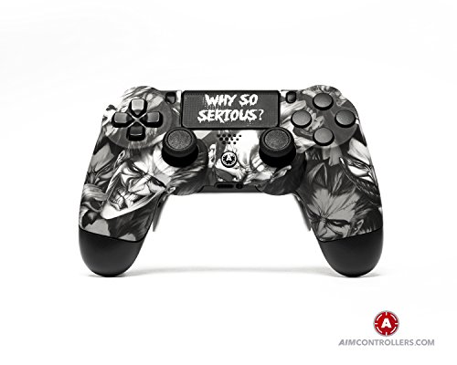 PS4 Slim DualShock 4 PlayStation 4 Wireless Controller - Custom AimController Joker White with 4 Paddles. Upper Left Square, Lower Left X, Upper Right Triangle, Lower Right O