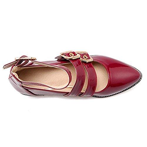 TAOFFEN Femmes Escarpins Soiree Confortable Bloc Talons Moyen Chaussures De Boucle Rouge
