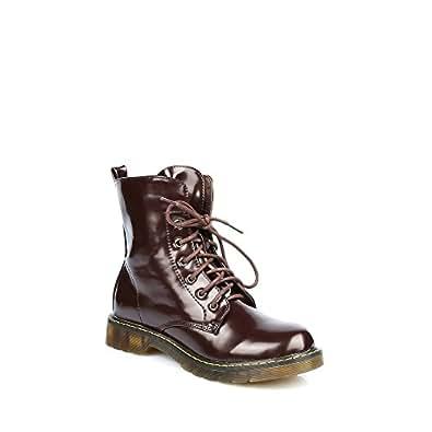 Ideal Shoes - Bottines montantes à lacets vernies Nady Marron 39