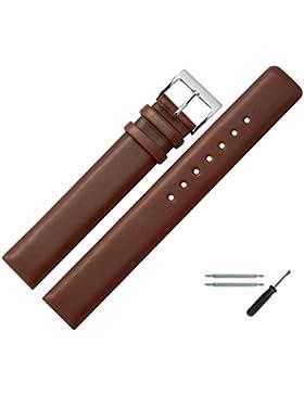 Uhrenarmband 20 MM Leder Braun XL, Glatt - Inkl. Federstege / Werkzeug - Extra Langes, Ersatzarmband - Lederband...