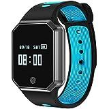 Yidarton Pulsera Inteligente Fitness Tracker Impermeable IP67 Smartwatch Bluetooth 4.0 Reloj Inteligente Contador de Calorias Análisis de Sueño Podómetro con Monitor de Sueño para Android e iOS (azul)