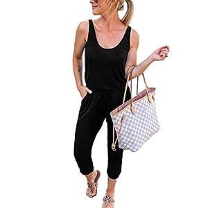 Caracilia Damen Sommer Tank Overall lässig lose ärmellose Strahl Fuß elasitic Taille Jumpsuit Strampler mit Taschen