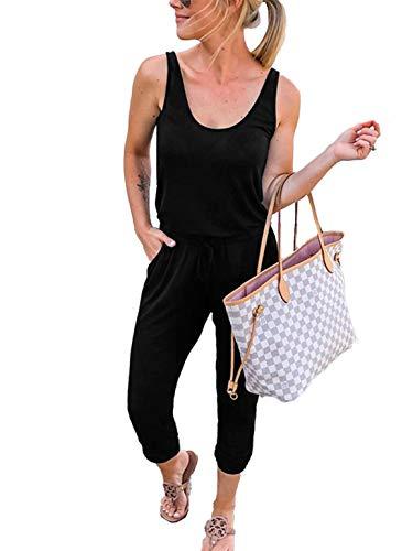 Caracilia Damen Sommer Tank Overall lässig lose ärmellose Strahl Fuß elasitic Taille Jumpsuit Strampler mit Taschen, 02-schwarz, M(EU40) -