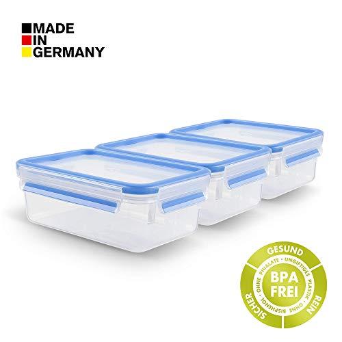 Tefal K43509 Frischhaltedose Set 3x 1 Liter Clip and Close (BPA-Frei, Luftdicht, Frischhaltebox mit Deckel, 100% dicht, Auslaufsicher, Spülmaschinenfest, mikrowellengeeignet, Made in Germany)