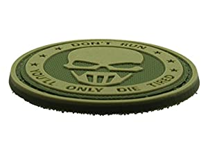 """Patch Velcro Airsoft PVC Vert """"Don't Run You'll Only Die Tired"""""""