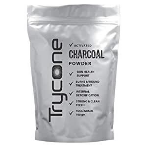 Trycone Activated Charcoal Powder, For Skin Treatment and Teeth Whitening, Helps With Digestion, Food Grade - 100 Gm