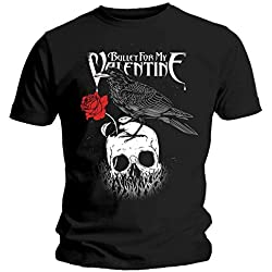 Bullet For My Valentine - Camiseta Oficial de The Poison Raven con diseño de Calavera de Rosas Negro Negro