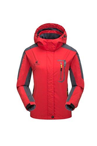 KISCHERS Damen Regenjacke Atmungsaktiv Jacke Wasserdichte Outdoorjacke Wandern Reise Winddicht Softshelljacke mit Kapuze (Rot, S)