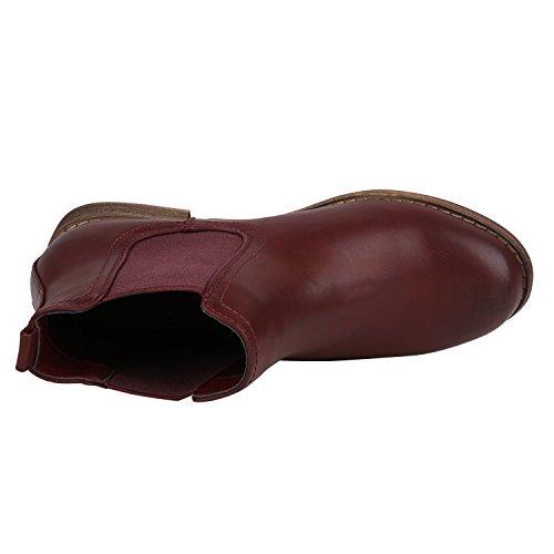 Stiefelparadies Gefütterte Chelsea Boots Damen Stiefeletten Leder-Optik Schuhe Profilsohle Booties Damenschuhe Übergrößen Flandell Dunkelrot Berkley