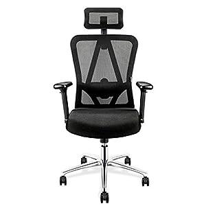 mfavour Bürostühle Ergonomischer Bürostuhl mit Kopfstütze Drehstuhl Computerstuhl Chefsessel, Verstellbare Kopfstütze und Armlehnen, Höhenverstellung, Atmungsaktives Mesh, Schwarz bis 150 kg