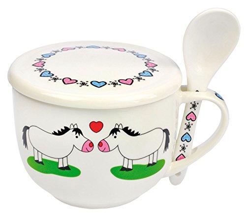 Tazza in ceramica con coperchio e cucchiaio per zuppa o cereali