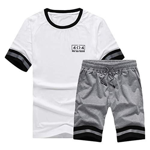 Junkie-fit-jeans (UINGKID Herren T-Shirt, Rundhals-Ausschnitt Slim Fit Mode für Männer Kurzarmhorts Anzug mit großenchulterlip und Farbstreifen)