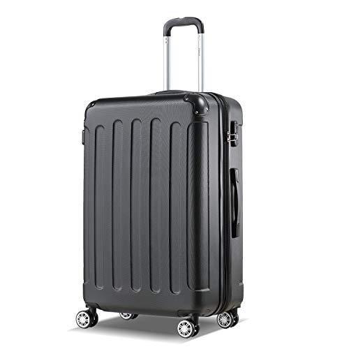 Flexot 2045 Koffer - Farbe Schwarz Größe XL Hartschalen-Koffer Trolley Rollkoffer Reisekoffer 4 Rollen