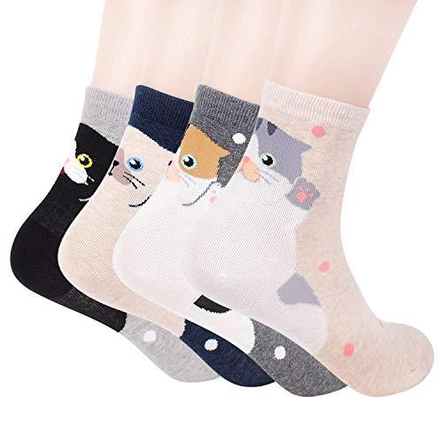 Happytree, calcetines para mujer, 3 – 6 unidades, divertidos y geniales gatos, perros, diseño de animales dulces, buena idea para regalo, talla única Multicolor Hooray Talla única