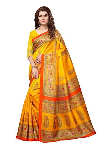 Saree Fancy (Indian Bollywood Wedding Saree indisch Ethnic Hochzeit Sari New Kleid Damen Casual Tuch Birthday Crop top mädchen Cotton Silk Women Plain Traditional Party wear Readymade Kostüm (Yellow))