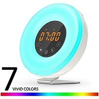 Wake Up Light,DUNQI Despertador de Luz Despertador 7 Colores 6 sonidos de la naturaleza Radio FM,Soporte de Aluminio Antideslizante,Luces-despertador Luz que simula el amanecer(Versión Actualizada)
