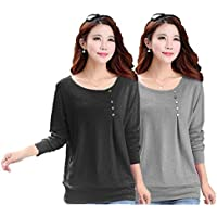 FreshTrend Women's Regular Fit Full Sleeve Cotton T-Shirt and Top (Combo Pack of 2)