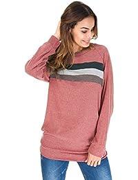 207b810f151ee8 Pullover Donna Inverno Autunno Moda Felpe a Righe Magliette Manica Lunga  Ragazza Bluse e Camicie Sportive