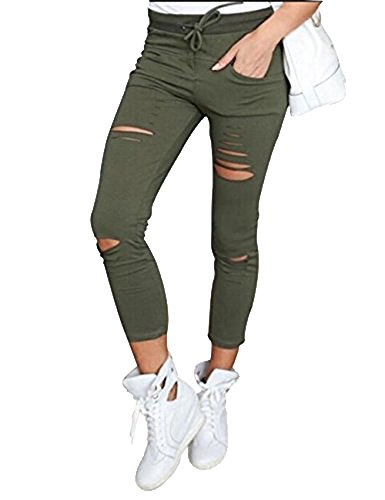 DODOING Damen Cropped Jeans High-Waist Stretch Ripped Hochbund Bleistift Leggings Skinny Modern Lässige Hosen (Bein Binden Weites)