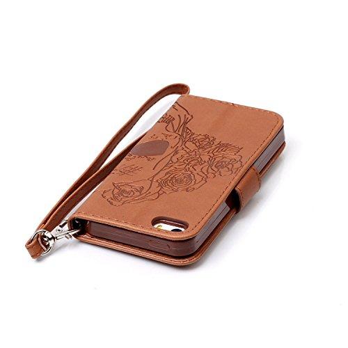 Coque pour iPhone 7 (4,7 zoll),Housse en cuir pour iPhone 7 (4,7 zoll),Ecoway Embossing étui en cuir PU Cuir Flip Magnétique Portefeuille Etui Housse de Protection Coque Étui Case Cover avec Stand Sup crâne(Brown)