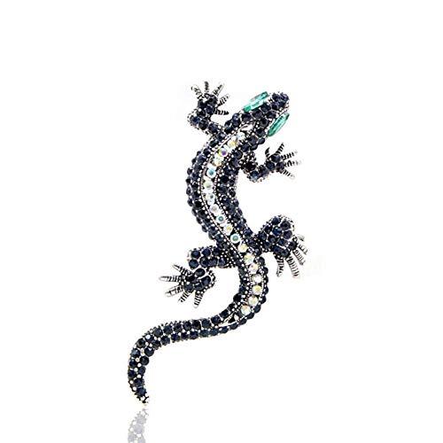 CCJIAC Strass Eidechse Brosche Dunkelblaue Farbe Körper Green Eye Gecko Broschen Modeschmuck Tier Stil Vintage Pin Geschenk